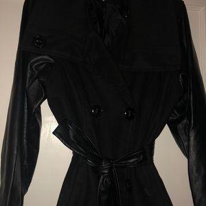 Stylish Black Wool Blend & Faux Leather Pea Coat